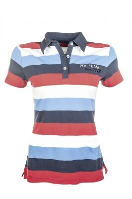 Kinder Poloshirt International Stripe HKM PRO TEAM weiß/navy/rot NEU