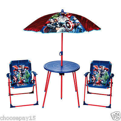 MARVEL AVENGERS Kids Garden Table and Chairs Set Parasol Folding Children Patio