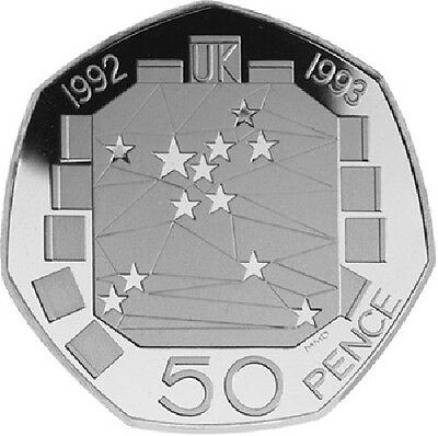 1992 1993 50P COIN EEC UNCIRCULATED EC PRESIDENCY FIFTY PENCE SINGLE MARKET b