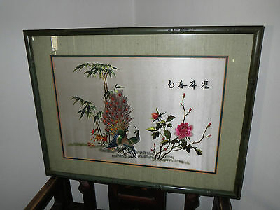 """Vintage Framed Asian Art Silk On Silk Picture """"peacock's & Floral"""" 19"""" X 25"""""""