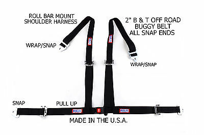 "Rjs Racing 2"" Buggy Off Road Seat Belt 4 Point Roll Bar Black 50521-14-Cse"