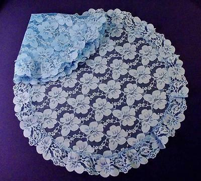 """Pair of Vintage NOS BLUE FLORAL LACE ROUND RUFFLED DOILIES, 24"""" In Diameter"""