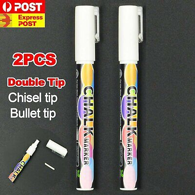 2X3mm Liquid Chalk Marker Pens Dual Nib White LED Writing Board Glass Pen Window