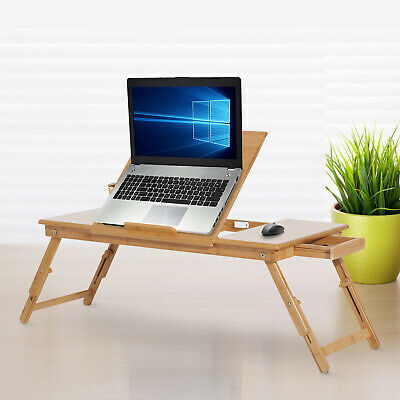 HOMCOM Adjustable Bamboo Laptop Stand Notebook Desk PC Foldable Table w/Drawer