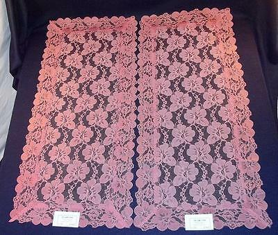 """Pair of Vintage NOS PINK FLORAL LACE Table Runners or Dresser Scarves, 32"""" x 15"""""""