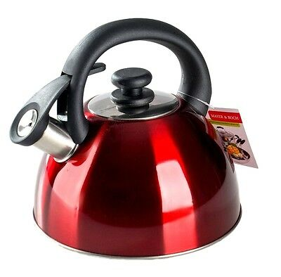 Whistling Kettle Stainless Steel 2.2L Coffee Boiling Tea Kitchen Multicolour NEW