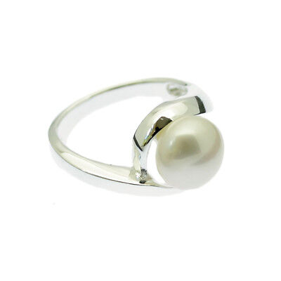 Pearl Ring Sterling Silver 9mm White Cultured Pearl Sizes L & R Gift Boxed