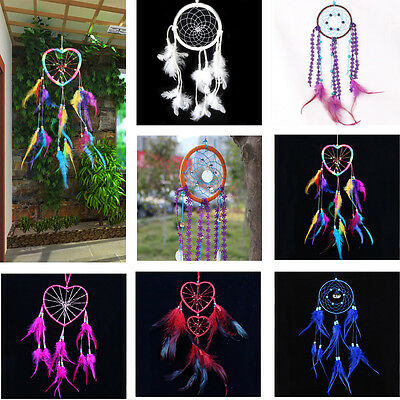 Heart Dream Catcher Wind Chime Home Decor Feathers Car Wall Hanging Ornament