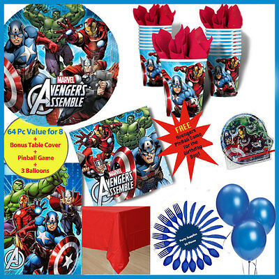 Avengers Boys Birthday Party Supplies Pack Napkins Plates Cups Cutlery Loot Bags