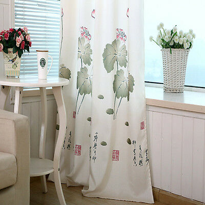 1pc Room Bedroom Curtain Lotus Printed Curtain Blackout Cloth Hook-Up 100*270cm