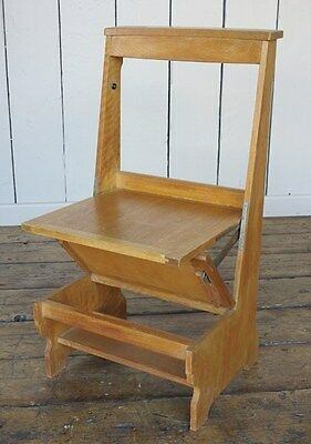 Antique Solid Oak Arts And Crafts Church Chairs - Kitchen Dining Chapel Chair