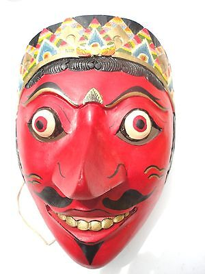 Vintage  Mask Wayang Topeng Wood Mask Red painted Indonesia, Javanese Art