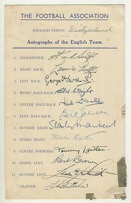 England Football Team 1946 Autograph Sheet, Fully Signed: Swift,scott,hardwick +