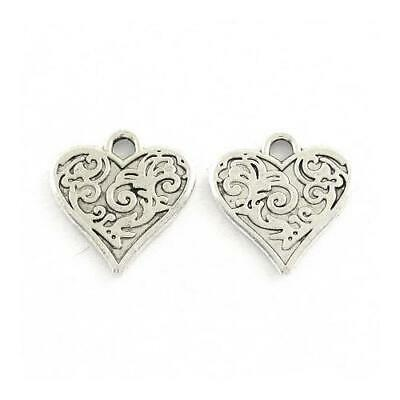 Heart Charm/Pendant Tibetan Antique Silver 16mm  30 Charms Accessory Jewellery
