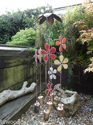 Fair Trade Hand Made Indian Iron Metal Flower Bells Beads Wind Chime Mobile