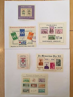 F62 Panama 1958 Stamps Pio Xii Brussels Expo United Nations Roosevelt Souvenir