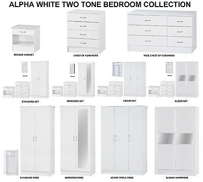 Alpha White High Gloss Two Tone | Modern Bedroom Furniture Units & Trio Sets