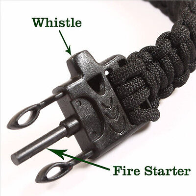 Survival Bracelet With Flint Fire Starter Scraper Whistle Camping Gear Para Cord