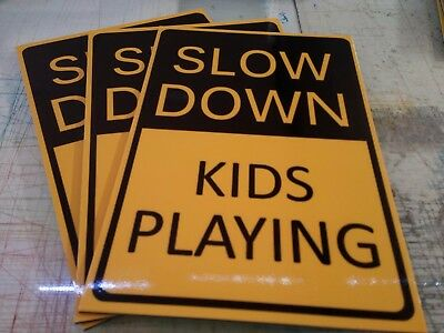 Slow Down Kids Playing Pack Of 3 Metal Signs 205x300mm Offer & Fast Post