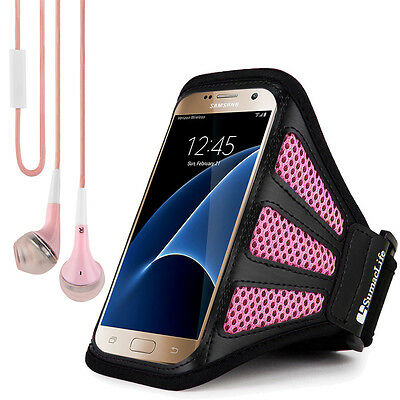 Pink Mesh Running GYM Sports Armband Case For Samsung Galaxy S7 Edge + Earphone