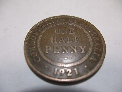 1921 KGV Half Penny Fine/Very Fine  RARE VERY OLD COLLECTION GREAT INVESTMENT