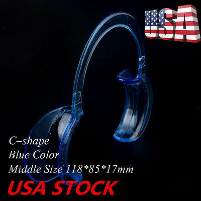 20pcs Dental Middle Teeth Whitening Cheek Retractor Mouth Opener C Type Blue USA