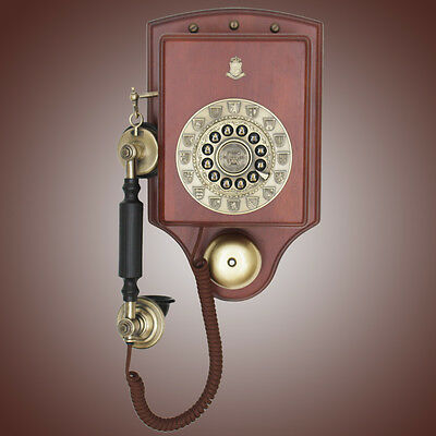 Wall Phone Wall-mounted phone Retro Wood Classical antique Corded telephone