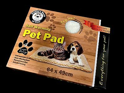 Self Heating Pet Dog Cat Bed Pad Snuggle Rug Faux Lambswool Mat 61cm x 48cm New