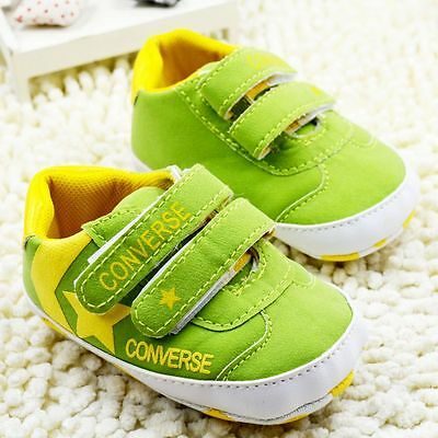 BABY GIRL / BOY SOFT SOLED CRIB SHOES LIME GREEN 6-12 M Size 2