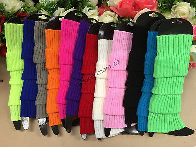 LEG WARMERS Legging Socks Knitted Women Costume Dance Disco 80s Party Knit Fluro