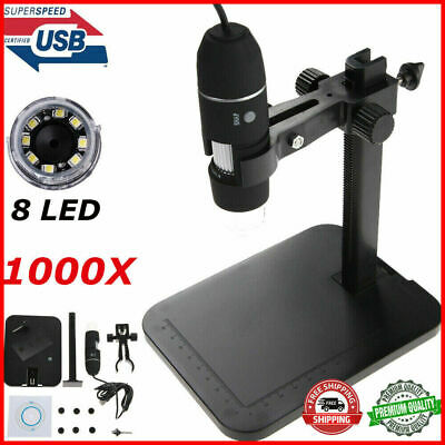 8 LED 2MP 1000X USB Digital Microscope Endoscope Magnifier with Adjustable Stand