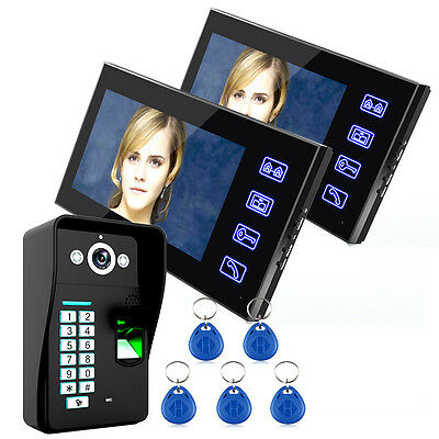 """7"""" LCD Wired Video Intercom Door Phone System Doorbell Camera 2 Touch Monitors"""