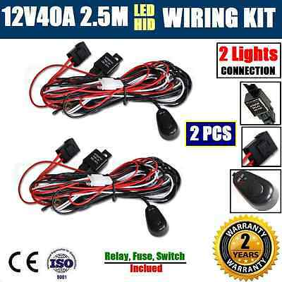 2x 12V40A WIRING LOOM HARNESS KIT HID LED DRIVING WORK LIGHT BAR AUTO FUSE RELAY