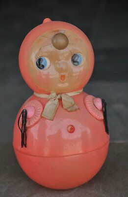 Vintage Fine Colorful Snow Dwarf Rolly Polly Celluloid Toy , Japan