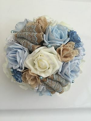 Artificial Blue Ivory Roses Hessian Lace Rustic Vintage Wedding Flowers Bouquet
