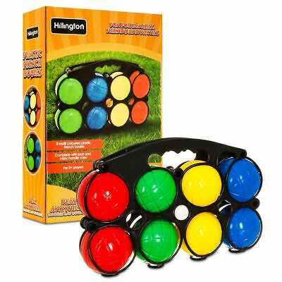 Set 8 Plastic French Boules Balls Petanque Jack & Carry Case Garden Picnic Games