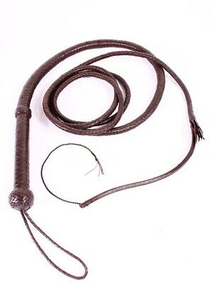 Indiana Jones Bullwhip Dark Brown Genuine Cowhide Top Leather 10 Foot Bull Whip