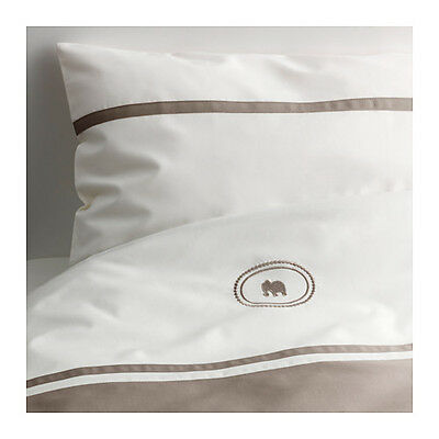 CHARMTROLL Quilt cover/pillowcase for cot, beige, white, 110x125/35x55 cm