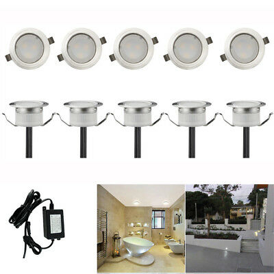 10x 30mm Low Voltage Cool White LED Deck Light Yard Garden Landscape Stairs Path