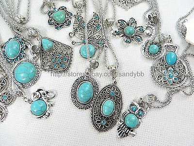 US Seller - 20 pieces turquoise pendant necklaces wholesale gemstone jewelry lot