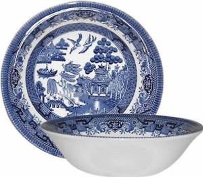 Set Of 6 Bowls 15.5 cm Churchill Blue Willow Cereal Soup Gravy Bowl Office Home