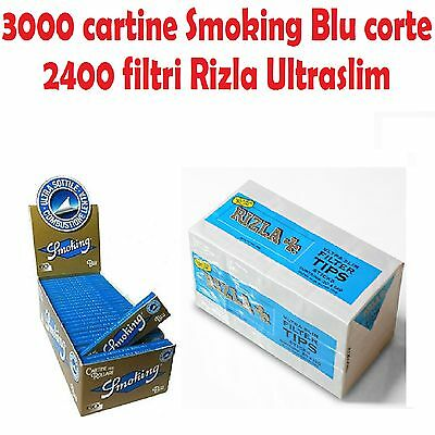 3000 Cartine Smoking Blu Corte + 2400 Filtri Rizla Ultraslim