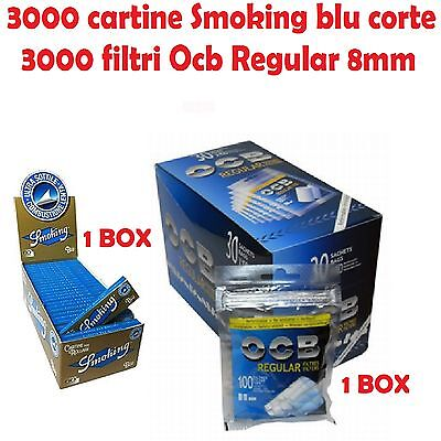 3000 CARTINE SMOKING BLU CORTE + 3000 FILTRI OCB REGULAR 8mm