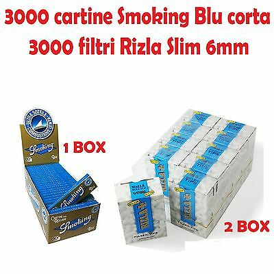 3000 CARTINE SMOKING BLU CORTE + 3000 FILTRI RIZLA SLIM 6mm + accendino
