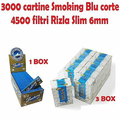 3000 CARTINE SMOKING BLU CORTE + 4500 FILTRI RIZLA SLIM 6mm + accendino