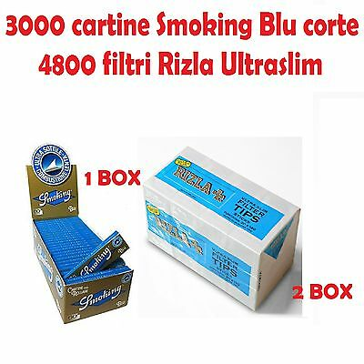 3000 Cartine Smoking Blu Corte + 4800 Filtri Rizla Ultraslim