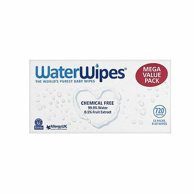 WaterWipes Natural Sensitive Chemical-Free Baby Wipes 12 x 60 Wipes ( Total 720)