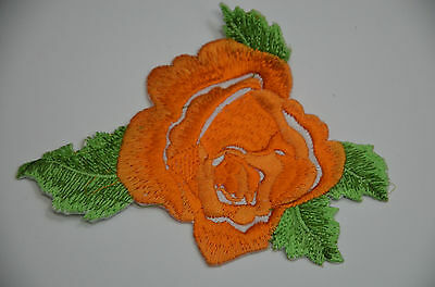 ORANGE FLOWER ROSE Embroidered Sew Iron On Cloth Patch APPLIQUE SEWING NEW