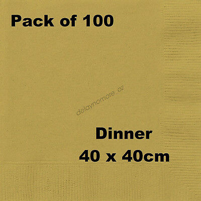 100 Large DINNER Napkins Gold Wedding Aniversary Party Napkin Serviettes 40x40cm