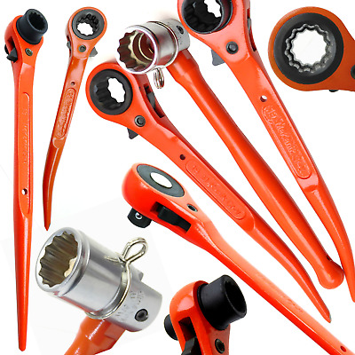Hi Viz Ratchet Podgers Spanners Steel Erecting Scaffold Tool Wrench 10 - 30mm